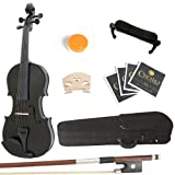 Mendini 4/4 MV Solid Wood Violin with Hard Case, Shoulder Rest, Bow, Rosin and Extra Strings - Full Size - Metallic Black