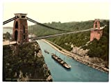 Victorian Photochrom-Reproduction Acrylic Fridge Magnet-Bristol Clifton Suspension Bridge