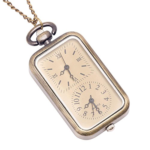 81stgeneration-Womens-Brass-Vintage-Style-Dual-Time-Zone-Pocket-Watch-Chain-Pendant-Necklace-78-cm