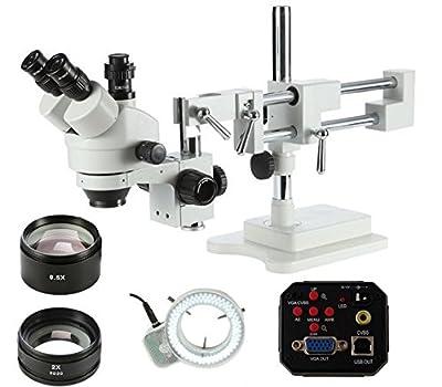 GOWE 3.5X-90X Zoom Double Boom Stand Stereo Zoom Trinocular Microscope+2MP HD VGA camera +144pcs Led Microscope