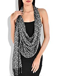 Navratri Special Sale - Beautiful Black & White Rayon stole and dupatta fr...