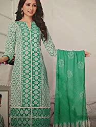 Its All About Me Women's Cotton Unstitched Dress Material (EK06_Green White_Free Size,(Pack of 4)