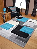 Tempo Teal Blue Square Thick Quality Modern Carved Rugs. Available in 7 Sizes by Rugs Supermarket