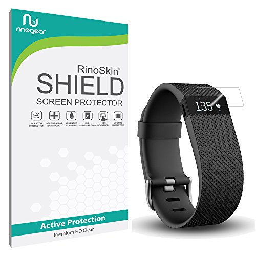 Fitbit Charge HR Screen Protector [10-PACK] [Military-Grade] RinoGear Premium HD Invisible Clear Shield w/ Lifetime Replacements