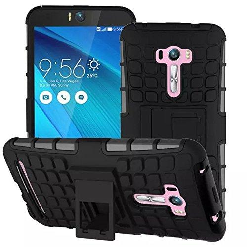 【IVSO®】ASUS Zenfone Selfie ZD551KL ケース  専用  ハード カバー スマホケース スマホカバー 耐衝撃 防塵 ファッション 高品質 スタンド機能が付き 7色可選 折りたたみ 眩しい 魅了的  超薄型 最軽量    2in1 (ブラック)