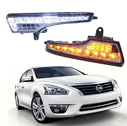 Ijdmtoy Oem Fit White/Amber Switchback Led Daytime Running Lights With Turn Signal Feature For 2013-Up Nissan Altima Sedan