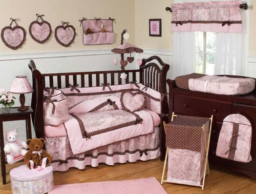 Pink and Brown French Toile and Polka Dot Girls Baby Crib Bedding Nursery Set by JoJo Designs