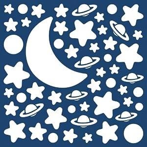 Decofun - Pegatinas tamaño mediano, diseño de estrellas, luna y planteas que brillan en la oscuridad por Leisurebrands en BebeHogar.com