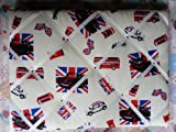 Handmade French style memo board with mod fabric, Mini's, Union Jack, London etc