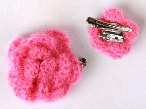 ヘアピン レース モヘア花柄 髪飾り 結婚式 パーティー#バラ色