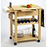 Kitchen Cart with Wine Rack and Drawer in Beech