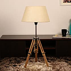 Cocovey Sheesham Wood Cotton Shade Floor Tripod Lamp