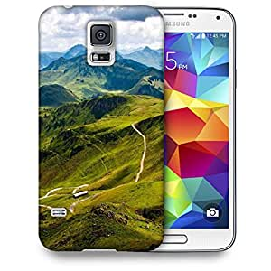 Snoogg Green Mountains Printed Protective Phone Back Case Cover For Samsung S5 / S IIIII