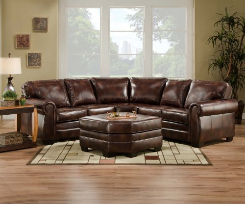 Brilliant Simmons 9222D Encore Brown Leather Sectional Sofa Ottoman Squirreltailoven Fun Painted Chair Ideas Images Squirreltailovenorg