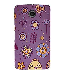animated flowers and birds in blue background 3D Hard Polycarbonate Designer Back Case Cover for Motorola Google Nexus 6 :: Google Nexus 6