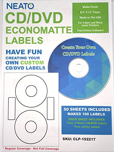 Neato CD/DVD Labels, Economatte 100 Labels - 50 Sheets, CLP-192217 Online Design Studio Included (Cd Label Software compare prices)