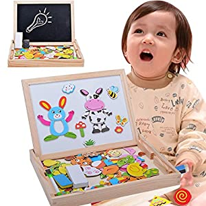 Zeagoo Baby Educational Toys Easel Magnetic Doodle Children Wooden Drawing Blackboard