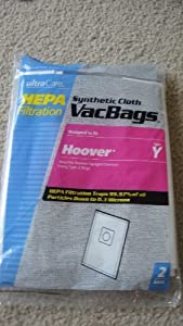Ultra Care HEPA Synthetic Cloth VacBags, Designed To Fit Hoover Y, Also Fits Hoover Upright Cleaners Using Z Bags, 2 Ct.