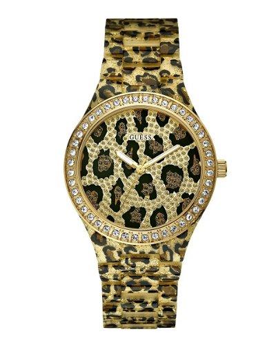 Guess Ladies Gold Tone Leopard Print Bracelet Stone Set Watch W0015L2
