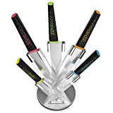 Set de Cuchillos VREMI Peackock Chef's Knives acero inoxidable 5 piezas, con base elegante