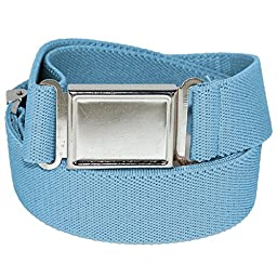 Jackster Elastic Adjustable One Size Belt w/ Magnetic Metal Buckle (Pastel Blue)