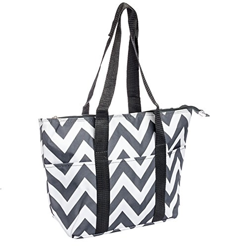 Silverhooks Womens Insulated Lunch Tote Bag (Grey/White Chevron) - 1