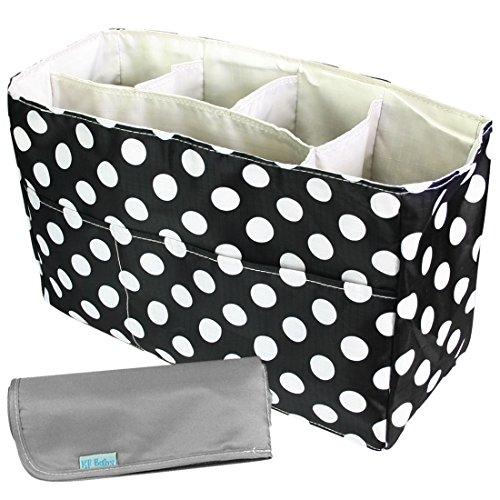 Kilofly - Borsa per pannolini con tasche di diverse dimensioni, pratica e ben organizzata, combinata ad una stuoia imbottita per cambiare i pannolini, colore: nero