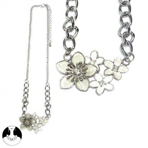 sg paris women necklace necklace 42cm+ext rhodium comb ivory enamel/metal