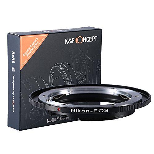 K&F Concept Bague Adaptation objectif pour monter objectif Nikon AI vers Caméra Canon EOS Série en Métal
