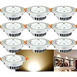 VINGO® 10 Stücke 5W LED Einbauleuchten Warmweiß Deckenleuchten Dimmbar Einbaustrahler rund Aluminium Design