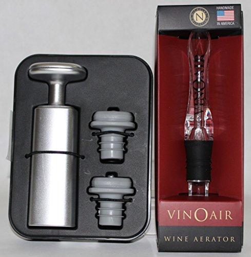 Wine Lovers - VinOair Aerator and Metrokane Vacuum Pump and Bottle Stoppers (Metrokane Vacuum compare prices)
