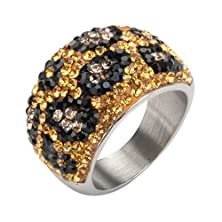 buy Women'S Stainless Steel Polished Ring Brown And Black Crystal Pave Set Leopard Design (Size 6)