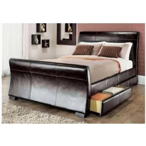 5ft king size leather sleigh bed with storage 4X drawers Brown