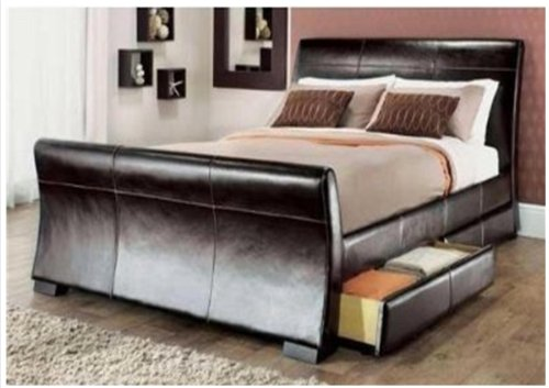 Leather Sleigh Bed King 5ft King Size Leather Sleigh
