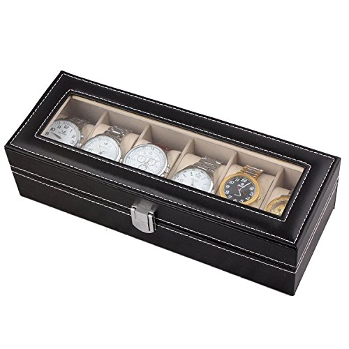 Amzdeal® Watch Box 6 Grids Watch Jewelry Display