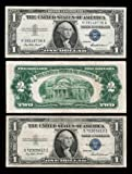 Awesome Set of 3 Silver Certificates RED and Blue Seals $1 $2 1935 1953 & 1957