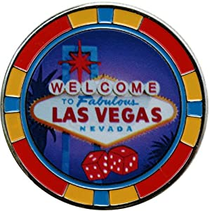 Welcome to Las Vegas Poker Chip Golf Ball Marker with Matching Welcome