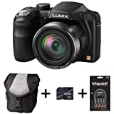 Panasonic Lumix DMC-LZ30 - Black + Case + 8GB Memory + 4 AA Batteries and Charger(16.1MP, 35x Optical Zoom, 25mm Wide Angle, Panaroma Shot, HD Video) 3 inch LCD