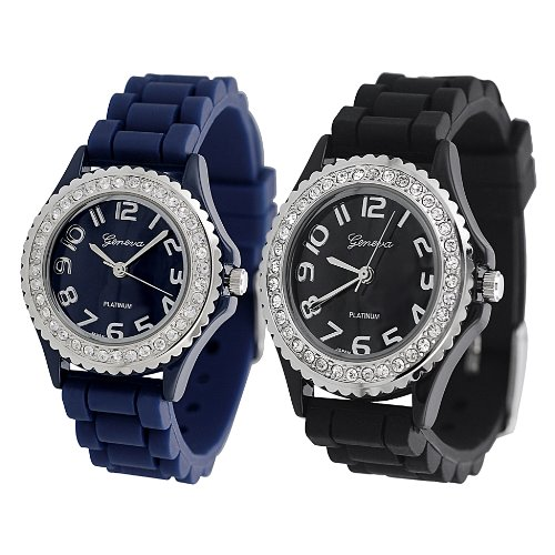 Gp By Brinley Co. Women'S Rhinestone-Accented Silicone Watch (Set Of 2 Navy And Black)