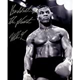 Mike Tyson Autographed Glaring In Ring 16 Inch X 20 Inch Photo W Baddest Man On The Planet Inscribed
