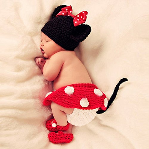 Foxnovo Cute Cartoon Mouse Style Baby Infant Newborn Hand Knitted Crochet Hat Costume Baby Photograph Props Set front-795423