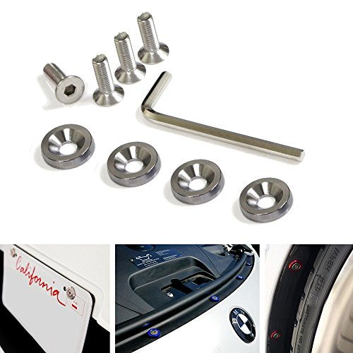 iJDMTOY (4) JDM Racing Style Gun Metal Aluminum Washers Bolts Kit For Car License Plate Frame, Fender, Bumper, Engine Bay, etc (License Plate Frame Gun Metal compare prices)