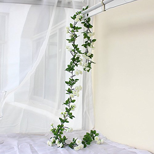 63 Inch Rose Garland Artificial Rose Vine with Green Leaves Flower Garland For Home Wedding Decor Pack of 3 (White)