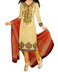 Vedant Vastram Woman's Poly Cotton Printed Unstitched Dress Material (Beige & Red Colour)