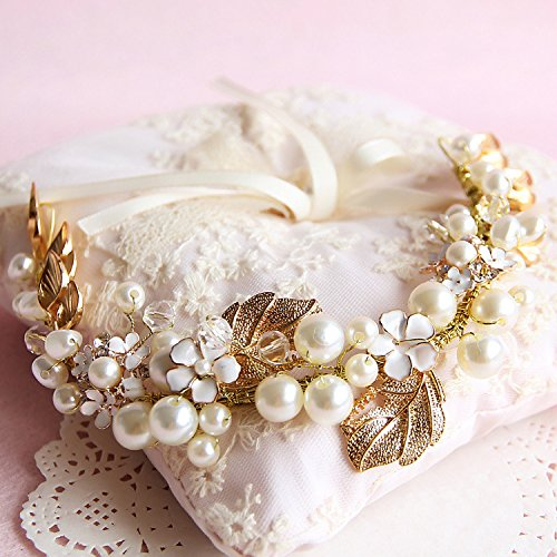Lsinyan Gold Handmade Luxury Retro Pearl Bride Bridal Wedding Accessory Hair Head Band Wear Rhinestone Jewelry Headdress Headband Tiara Crown