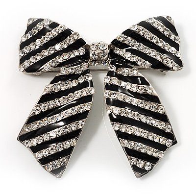 Large Enamel Crystal Bow Brooch (Black)