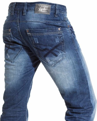 Gov denim - Faded and worn jeans man fashion - Color: Blue Size: Fr 48 US 38