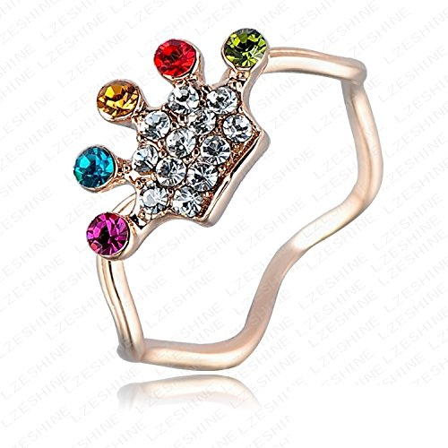 K-Design New 2014 Multi-Colored Queen Austrian Crystal Crown Ring Real 18K Rose Gold Plated Genuine Swa Element Sister Rings Ri-Hq1108-C 6.0