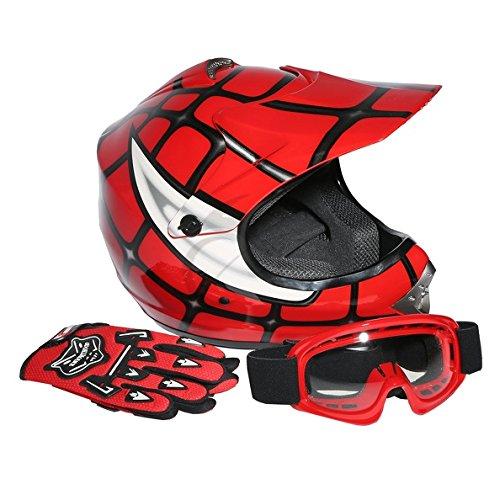Tengchang Dot Youth & Kids Motocross Offroad Street Helmet Red Spider Net Motorcycle Helmet+Goggles+gloves L