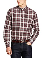 Hackett London Camisa Hombre Flannel Check (Burdeos)